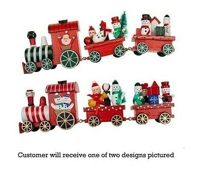 Christmas Wooden Train Toy Decorations - 3 Piece Set