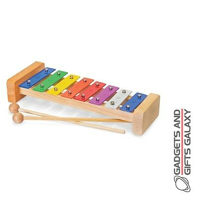 8 NOTE XYLOPHONE WOODEN MUSICAL INSTRUMENT toy novelty gift childs retro classic