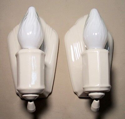 Vtg Art Deco Porcelain Sconce Wall Fixture Light Pair 2 Clean Rewired USA #F79