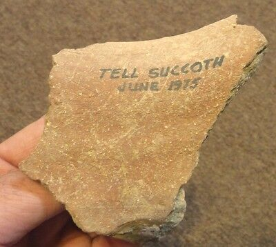 Ancient pottery broken handle from Tell Succoth Israel-Holy Land. Biblical