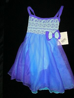 Girl's Blue and Purple Dance Leotard Dress ~ New ~ # 628