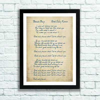 Beach Boys God Only Knows Song Lyrics Print 3 Sizes