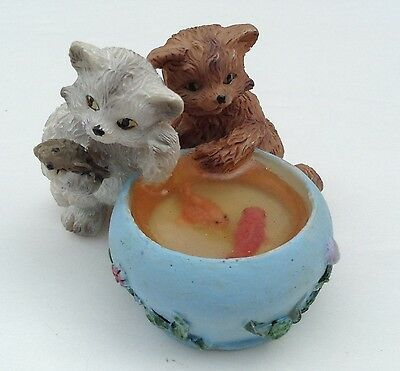 """Cats Playing in Gold Fish Bowl Figurine 2"""" T"""
