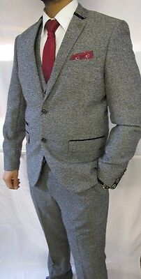 Men's Marc Darcy Designer Vintage Grey Tweed Herringbone Check Three Piece Suit