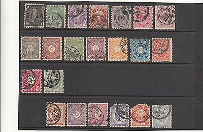Japan, 22 Early Stamps, Brilliant Cancellations, Colour.