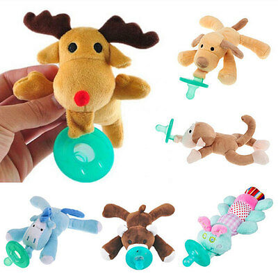 Kids Infant Baby Plush Animal Pacifiers Boy Girl Child Orthodontic Dummy Nipples