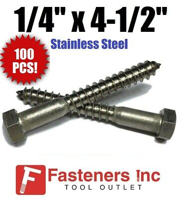 "(Qty 100) 1/4"" x 4-1/2"" Lag Screws Hex Head Stainless Steel 18-8 / 304"