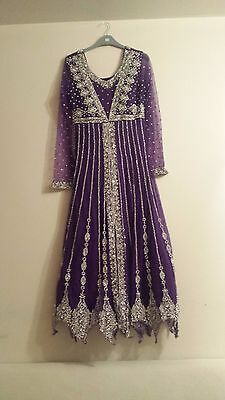 Pakistani Indian Purple and Silver Maxi Churidar Engagement/Wedding Suit Size 10