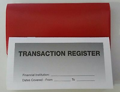 3 - Checkbook Transaction Registers & 1 Red Vinyl Check Book Cover - Duplicate