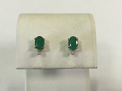 14k Yellow Gold Oval Natural Emerald Stud Earrings with Diamond Accent