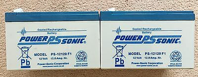 2 x PowerSonic PS-12120F1 12V 12AH AGM/GEL Pride Go-Go Mobility Scooter Battery