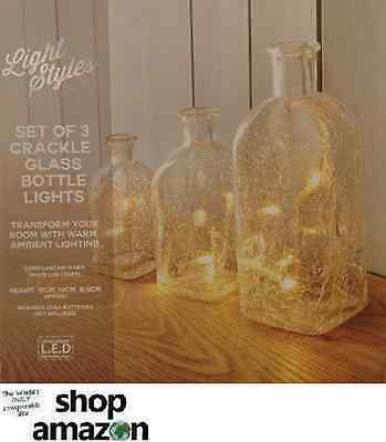 Ambient Set Of 3 Crackle Glass L.E.D Bottle Lights ornament, Battery Operated