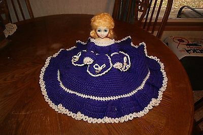"Vintage Hand-Made Crocheted Southern Belle Bed Pillow 15"" Jointed Doll"