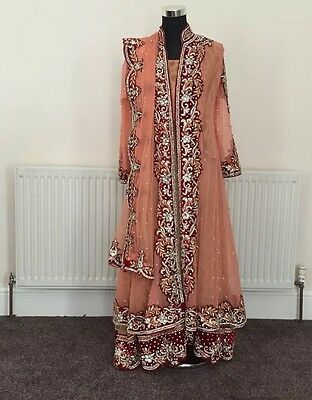 Pink/peach And Red Pakistani Indian Dress, Weddings, Bridal RRP£500 Size 38