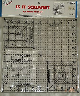 "EZ Quilting Acrylic Ruler IS IT SQUARE? by Marti Michel Sewing Tool 10½""x10½ SIP"