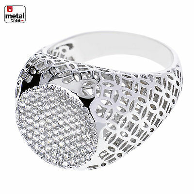 Men's Luxury Iced Out Hip Hop Silver Plated Caved Flat Round Style Pinky Rings