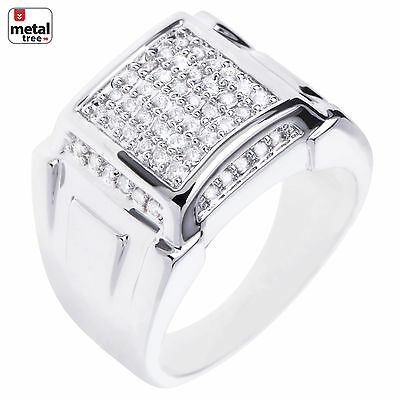 Men's Silver Plated Micro Pave CZ Dome Square Style Pinky Hip Hop Men's Rings