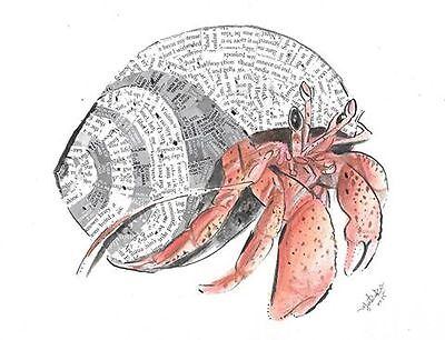 new original recycled MEart collage picture mixed media crab