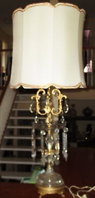 Antique Chandelier Crystal Prism Notched Spear Real Glass Lamp Victorian Shade!