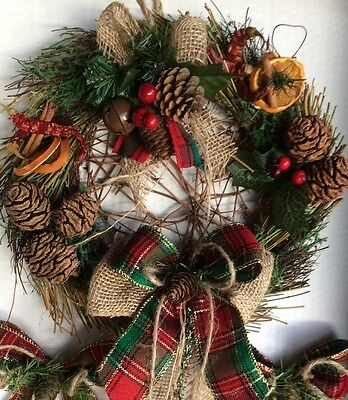 """Rustic Christmas Wreath """"give A Gift"""" With Cones Fruits And Hessian Ribbons"""