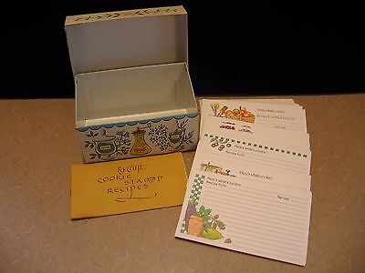 Vintage Metal Tin Recipe Box with Cards - Spice Design