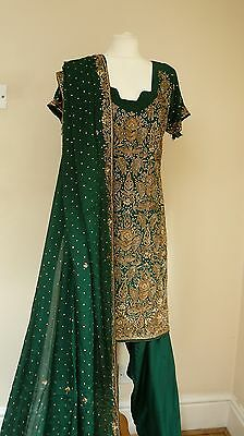 green silk 12-14 bollywood punjabi Indian salwar kameez sari lengha SS13342