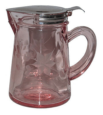 "Standard Glass (#810) ""Hoffman"" Pink Wheel Cut Depression Syrup"