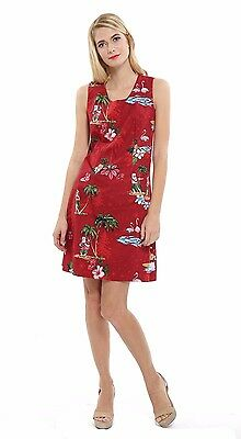 14b9a9a4bd3e Elegant Holiday Christmas Hawaiian Tank Party Cruise Luau Dress Santa Red