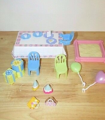 Happy Family Barbie Doll 1st Birthday parts pieces to Backyard Playset table lot