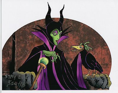 Sleeping Beauty Maleficent Evil Witch Signed Tribute Print With COA