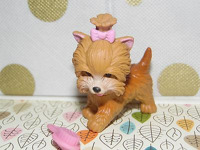 Barbie Doll Puppy Dog With Pink Bow & Brush