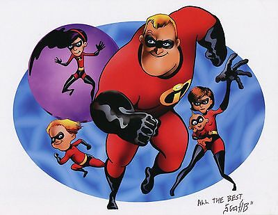 The Incredibles Cute Fun Signed 8.5x11 Tribute Print With COA