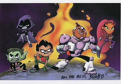 Teen Titans Cute Fun Signed 8.5x11 Tribute Print With COA