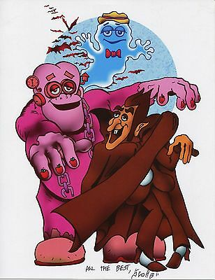 Count Chocula Frankenberry Boo Berry Retro Signed Tribute 8.5x11 Print With COA