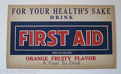 FIRST AID 1920's Orange Soda Cardboard Store Tacker Sign