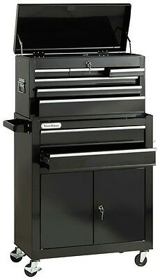 VonHaus Large Tool Chest Cabinet Heavy Duty Drawers Garage Storage Steel Black