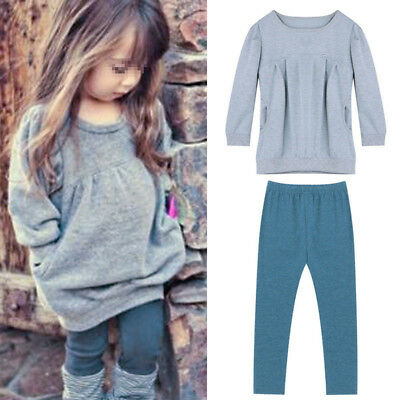 Baby Girls Kids Clothes Toddler Long Sleeve T-Shirt Dress+Pants 2Pcs Outfits Set