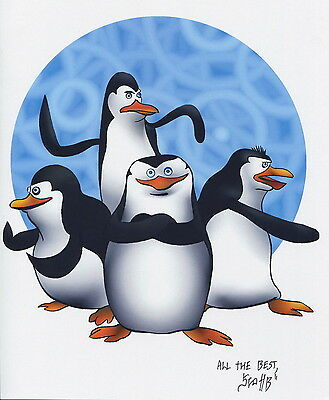 Madagascar Penguins Fun Signed Tribute 8.5x11 Color Print With COA