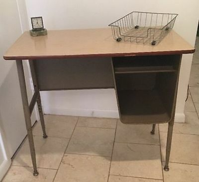 Teacher's School Desk Industrial Vintage Metal -Mid Century-Atomic-Retro