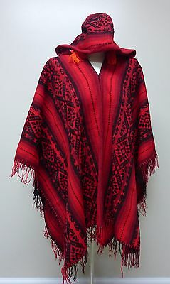 Shamans Hooded red  and  Black Poncho- Andean Mountain Textile
