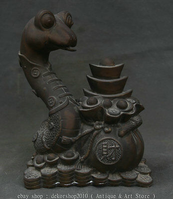 """7"""" Old Chinese Purple Bronze Fengshui Zodiac Animal Snake Moneybag Wealth Statue"""