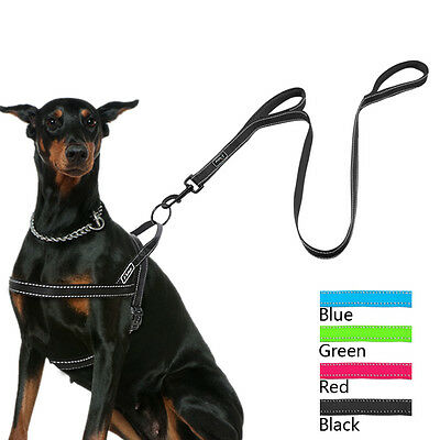 Reflective Stop Pulling Dog Harness and Leash Set for Large Dogs Black Pink Blue