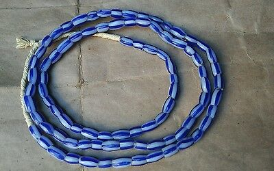 Venetian Old Trade Beads - Ghana Water Melon Bead Blue In White Color