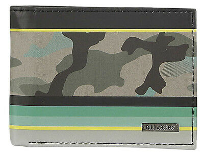 "Brand New + Tag Billabong Boys Mens Pvc Tri-Fold Wallet Surf ""spinner"" Bnwt Camo"