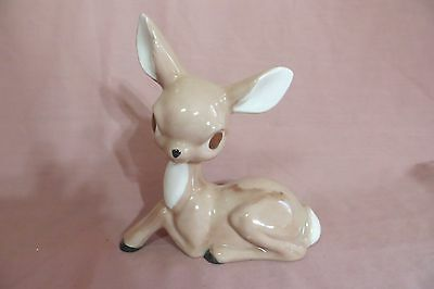 Vintage Painted Ceramic Glaze Fawn/Deer Laying Figurine