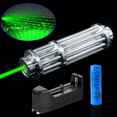 Military 1W Powerful 532nm Green Laser Pointer Pen Beam Light + 18650 + Charger