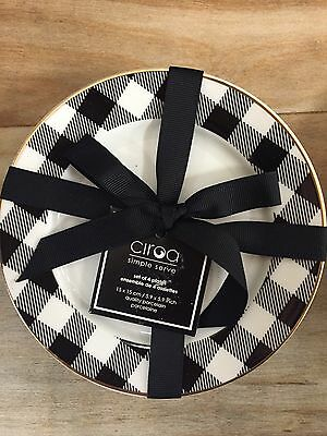 Ciroa Plaid Appetizer Plates | Set 4 | New | Holiday