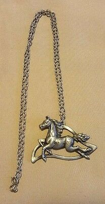 Vintage Pewter Horse Pendant on Necklace