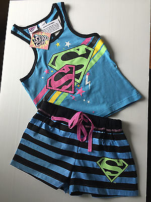 BNWT Girls Sz 10 Cute Blue Super Girl Print Short Summer Stretch PJ Pyjamas