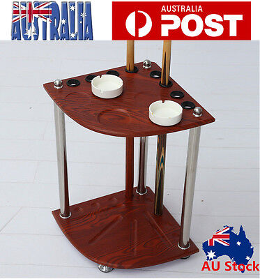 Pool Snooker Billiard Corner Cue Stand Rach With Ashtray Ball Rest Stand Red